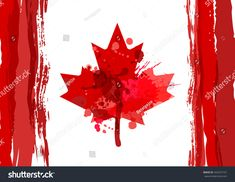 Holiday poster with hand drawn watercolor Canada maple leaf. Design for banner or greeting cards.