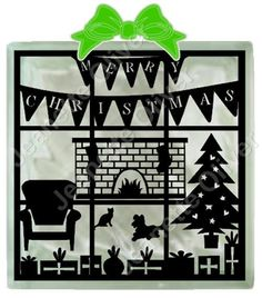 Furry Friends Thru The Window SVG digital cutting file suitable for Glass Blocks, cards and frames.