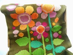 Vintage Swedish embroidery Cross stitched wall hanging Bright floral embroidery Large embroidery Easter wall hanging