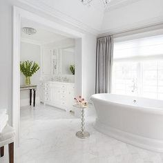 White Bathroom with Grey Curtains, Transitional, Bathroom, Benjamin Moore Moonshine
