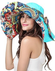024201c3 New Women's Foldable Floppy Reversible Travel Beach Sun Visor Hat Wide Brim  UPF 50 . [