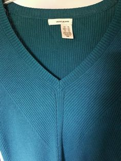 NWOT Womens DKNY Jeans Electric Blue/Green Long Sleeve V neck Sweater XL   Clothing, Shoes & Accessories, Women's Clothing, Sweaters   eBay!