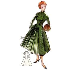 Pattern 23 Elsa: A 1956 dress with a mandarin collar, a front bodice yoke, long sleeves, princess seams with pleated front skirt panel and a