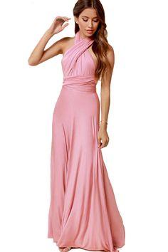 Pink Versatile Cross Halter Backless Maxi Dress #Pink #Dress #maykool