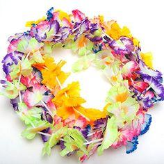 "144 JUMBO TWO TONE CARNATION FLOWER LEIS 38/"" Silk Hawaiian Luau"