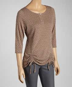 Another great find on #zulily! Brown Ruched Henley by Zashi #zulilyfinds