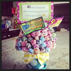 40th birthday gift. Sucker bouquet with lotto tickets