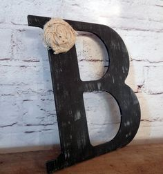 Black Rustic Chic Wooden Letter B home decor by ThePinkToolBox