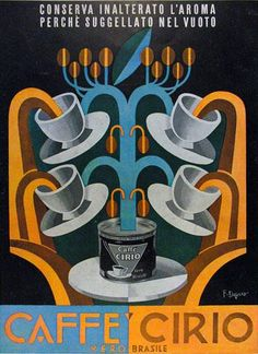 Poster by Fortunato Depero (1892-1960), 1936, Caffe Cirio #Futurism #ItalianFuturism #Cafe