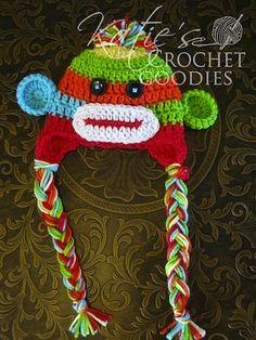Colorful Sock Monkey Hat - $4.99 OR Newborn Colorful Sock Monkey Hat - Free by Katie Bekhazi of Katie's Crochet Goodies / Sock Monkeys Part 2 - Animal Crochet Pattern Round Up - Rebeckah's Treasures