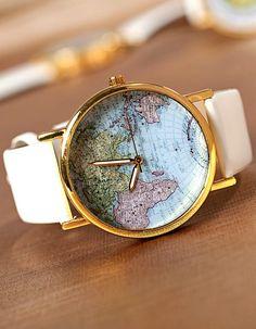 World map watch #montresfantaisies, #montresfemme, #bijoux, #bijouxfantaisiefemme