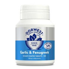 Garlic & Fenugreek is a herbal medicine for the symptomatic relief of minor infections, skin conditions, coughs, arthritis and rheumatism in dogs and cats.