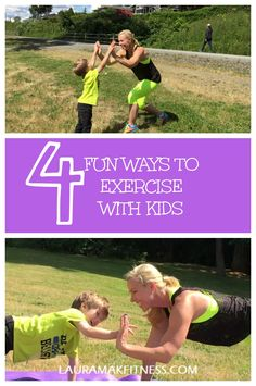 """Need some ideas on how to exercise with your children? Moms can't always hit the gym so get them involved and train with your kiddos. Try these FUN four exercises that you can do together while giving and receiving lots """"high-fives"""" along the way!! No equipment required. We just did these outside one afternoon and had a blast. We got our heart rate up, burned some calories, burned some extra energy, and had quality time together! Living Fit Now. Please share with your friends! :)"""