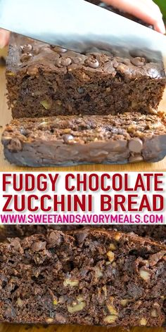 Chocolate Zucchini Bread is moist tender and very fudgy. You cant taste the zucchini but they make the texture of this bread irresistible. Baking Recipes, Dessert Recipes, Zucchini Bread Recipes, Healthy Zucchini, Zuchinni Bread, Chocolate Zucchini Bread, Quick Bread, Sweet Bread, Chocolate Recipes