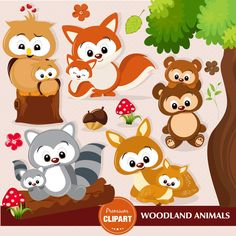 Woodland Clipart, Woodland Baby Shower Clipart, Baby Animals, Woodland Anim … - Home Page Forest Animals, Zoo Animals, Woodland Animals, Woodland Baby, Woodland Nursery, Baby Shower Clipart, Clipart Baby, Cute Crafts, Felt Crafts
