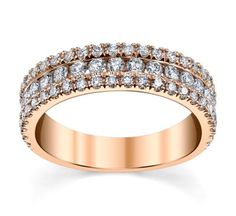 Michael M. 18K Rose Gold Diamond Wedding Ring 7/8 Cttw.