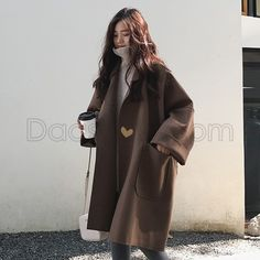 2019 Fall Winter Women Simple Cashmere look Maxi Long Robe Loose Coat Female Woolen Outerwear manteau femme abrigos mujer Winter Fashion Outfits, Look Fashion, Korean Fashion, Winter Outfits, Womens Fashion, Korea Winter Fashion, Fashion Trends, Fashion Coat, Jackets Fashion
