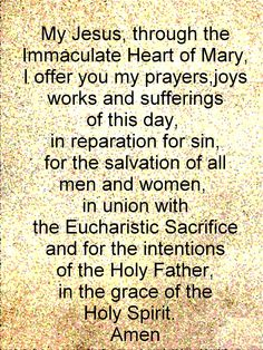 Daily Morning Offering and prayer of reparation for the First Friday of the month.