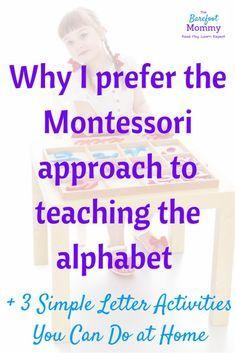 Montessori alphabet activities teach the alphabet preschool literacy teachi Montessori Practical Life, Montessori Homeschool, Montessori Classroom, Montessori Toddler, Preschool Curriculum, Toddler Learning, Preschool Learning, Montessori Activities, Preschool Alphabet Activities