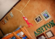 Elf on the Shelf was found zip lining through the boys' room.
