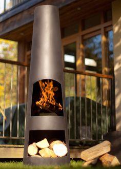 Buy Contemporary steel chimenea circo - Creates a great focal point for the garden: Delivery by Crocus Garden Inspiration, Garden Ideas, Patio Ideas, Chiminea, Contemporary Patio, Real Fire, Fire Ring, Corten Steel, Outdoor Living