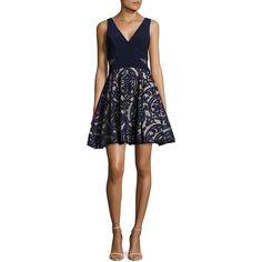 Xscape Women's Damask-Applique Fit-and-Flare Dress ($209) ❤ liked on Polyvore featuring dresses, navy stone, navy blue floral dress, navy dresses, sleeveless fit and flare dress, floral fit-and-flare dresses and fit flare dress