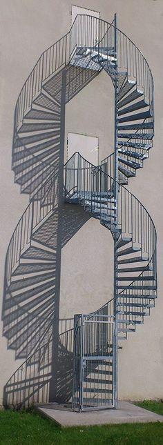 Stairway spiral shadows