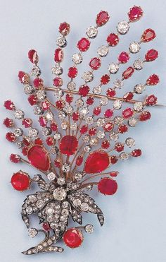 A magnificent silver, gold, diamond and ruby brooch, 19th century. The…