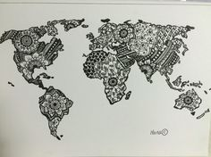 Items similar to zentangle world map art print on etsy woodshop items similar to zentangle world map art print on etsy woodshop pinterest tattoo and body art gumiabroncs Images