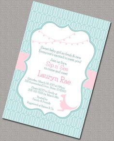 Printable Baby Shower Invitation, baby girl Sip and See Invitations, Turquoise and Pink Retro Baby Shower Invite - Design 783