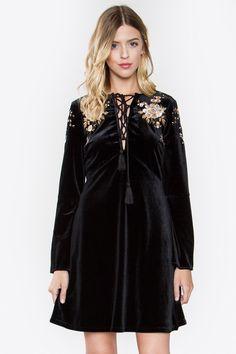 Black Velvet Front Tie Shift Dress