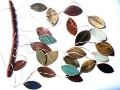 Stoneware Ceramic Leaf Chimes Mobile
