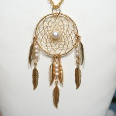 Dream Catcher Large Gold & Pearl Dreamcatcher by BBJdesign on Etsy