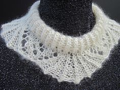 This stunning little accessory can be used as both a detached collar and a fancy coronet headband. Knit it up quickly using just 50 yards of worsted weight yarn. Ours is made in silky mohair from Australian Angora Goats. Easy Knitting Patterns, Weaving Patterns, Shawls And Wraps, Neck Warmer, Crochet Necklace, Fancy, Ravelry, Cuffs, Scarves