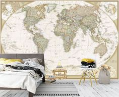 Detailed world map wallpaper custom dimensions Wall Murals Bedroom, 3d Wall Murals, Duvet Sets, Duvet Cover Sets, Detailed World Map, World Map Wallpaper, Decor Market, Brown Wallpaper, Stylish Beds