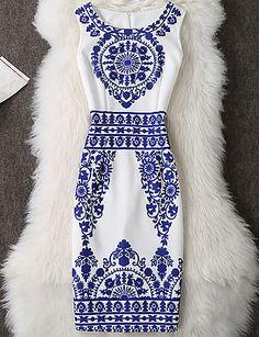 Feminino Tubinho Vestido, Para Noite Casual Trabalho Sensual Simples Temática Asiática Estampado Decote Redondo Altura dos JoelhosSem de 5574090 2017 por R$54,72