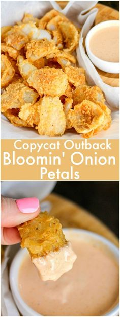 Outback Bloomin' Onion Petals taste just like the popular recipe! Pair them wi.- Outback Bloomin' Onion Petals taste just like the popular recipe! Pair them with the Bloom Sauce and everyone will be begging for more! Onion Petals, Tapas, Fingers Food, Fingerfood Party, Snacks Für Party, Popular Recipes, Popular Food, Appetizer Recipes, Party Food Recipes
