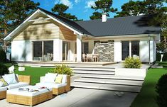 Zdjęcie projektu Evita Optima wersja A Style At Home, Interior Exterior, Interior Architecture, Garage, Home Fashion, House Plans, Shed, Outdoor Structures, Cabin