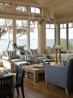 Living Room | Sarah Richardson Design - just stunning!  Love the blue/white combo and the dream view/location.