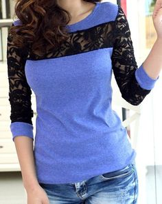 Sweet Women's Round Neck Candy Color Lace Splicing Long Sleeve T-Shirt
