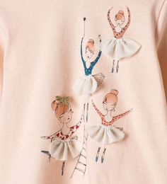 Image 5 of Frilly ballerina top from Zara Dress Painting, T Shirt Painting, Fabric Painting, Fabric Art, Fabric Paint Shirt, Hand Embroidery Designs, Embroidery Art, Embroidery Patterns, Baby Girl Dresses