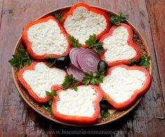 Aperitiv cu ardei si branza Caprese Salad, Food, Sweet Treats, Meal, Essen, Hoods, Meals, Insalata Caprese, Eten