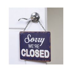 """Hanging """"Open and Closed"""" Sign"""