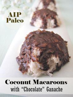 "Raw Coconut Macaroons with ""Chocolate"" Ganache Autoimmune Wellness - Paleo Rezepte Paleo Coconut Macaroons, Raw Coconut, Coconut Cream, Shredded Coconut, Paleo Sweets, Paleo Dessert, Vegan Desserts, Healthy Recipes, Whole Food Recipes"