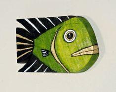 2 Pi/èces D/écor de poisson en bois ornement suspendu en bois d/écoration de poisson sculpt/é /à la main en bois poisson mur Art pour la maison int/érieur ext/érieur bureau nautique mur th/ème d/écorati