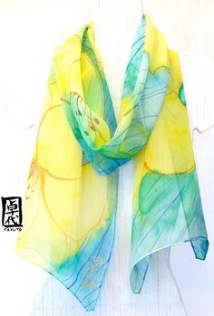 Hand Painted Large Silk Scarf Floral. Green SIlk Scarf. Blue Green Yellow Lily Garden. Silk Scarves Takuyo. Silk Chiffon Scarf. 13x69 in.. $72.00, via Etsy.