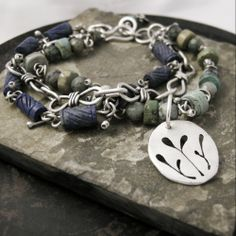 Carved Lapis, Turquoise and Sterling Silver Bracelet