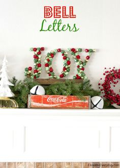 I love this JOY jingle bell letter decor idea! It's a fun and easy Christmas craft to create for your holiday home decorations! | Capturing-Joy.com