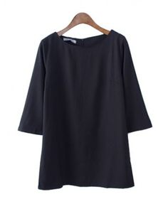3/4 Length Sleeves Chiffon Dress with Concealed Zip Back