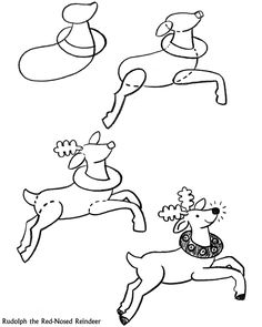 step by step on how to draw a reindeer | ... Christmas puzzles, mazes and how to draw and Homer the Scottish bear
